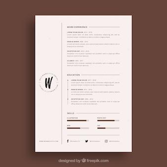 Modello di curriculum elegante con stile minimalista