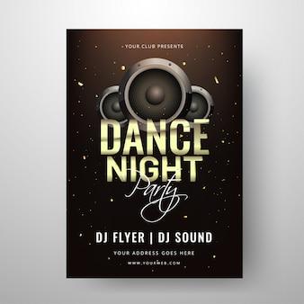 Modello di dance night party o clud invitation card design con s
