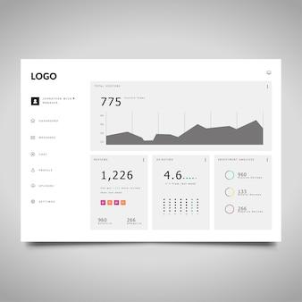 Modello di dashboard con statistiche