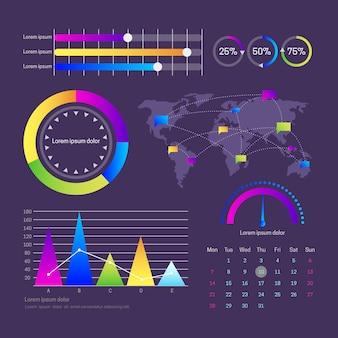 Modello di dashboard pannello utente infographic
