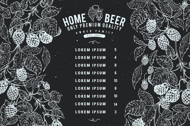 Modello di design beer hop. sfondo di birra d'epoca.