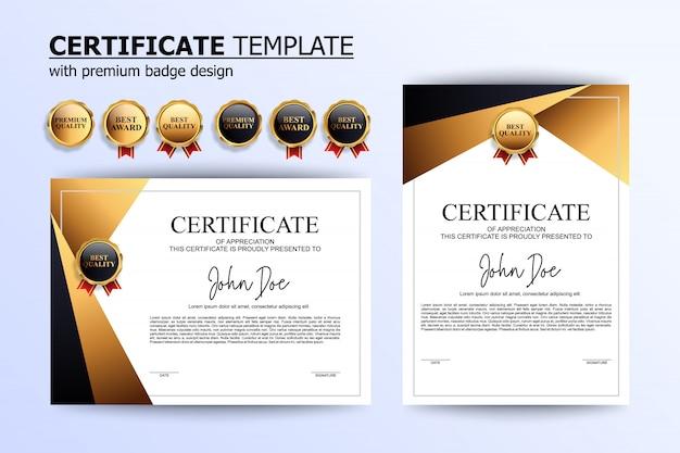 Modello di design certificato bianco e oro di lusso con badge opzionale