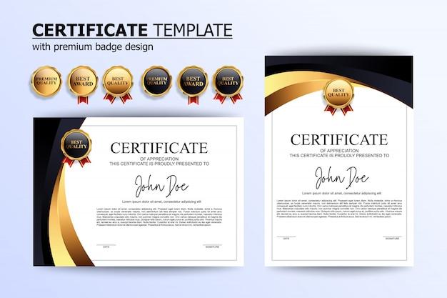 Modello di design certificato di lusso in oro bianco nero