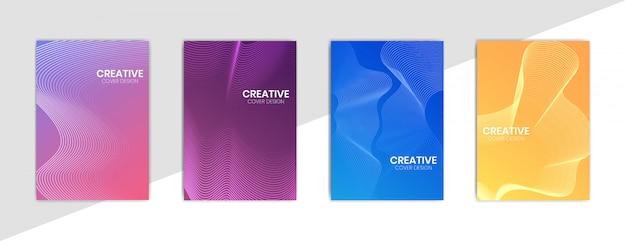 Modello di design copertina minimale con linee ondulate e set di sfondo sfumato