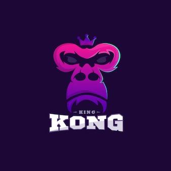 Modello di design del logo colorato king kong