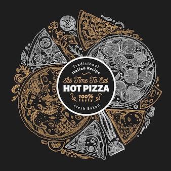 Modello di design della pizza. illustrazione disegnata a mano degli alimenti a rapida preparazione di vettore sul bordo di gesso. schizzi la retro priorità bassa italiana della pizza di stile.