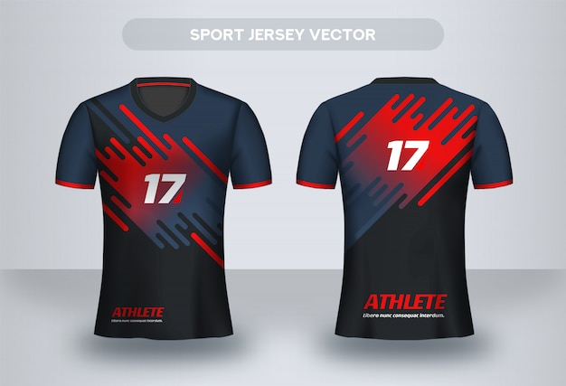 Modello di design di football jersey. camicia di design aziendale. t-shirt da calcio dell'uniforme, vista frontale e posteriore.