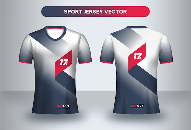 Modello di design di football jersey. corporate design, maglietta da calcio uniforme t-shirt davanti e dietro.
