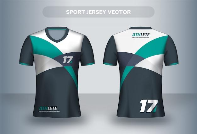 Modello di design di football jersey. t-shirt da calcio dell'uniforme, vista frontale e posteriore.