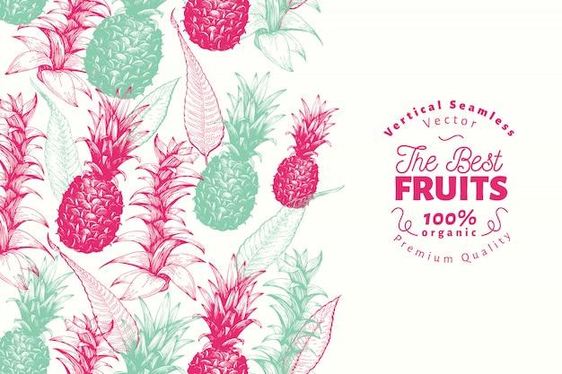 Modello di design di frutta ananas. illustrazione disegnata a mano della frutta di vettore