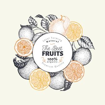 Modello di design di frutta arancione. illustrazione disegnata a mano della frutta di vettore banner di stile inciso. retro sfondo di agrumi.