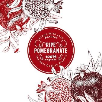 Modello di design di frutta melograno. illustrazione disegnata a mano della frutta di vettore priorità bassa botanica retro di stile inciso.