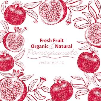 Modello di design di frutta melograno