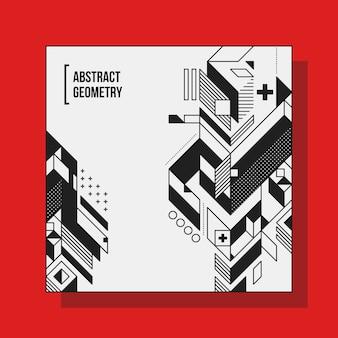 Modello di design di sfondo quadrato con elementi geometrici astratti. utile per copertine cd, pubblicità e poster.