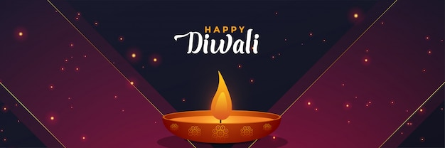 Modello di design elegante banner diwali