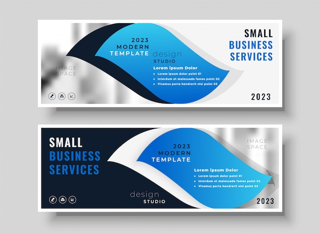 Modello di design elegante blu business banner