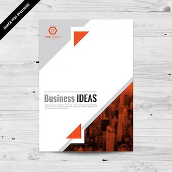 Modello di design flyer aziendale arancione e grigio con triangoli