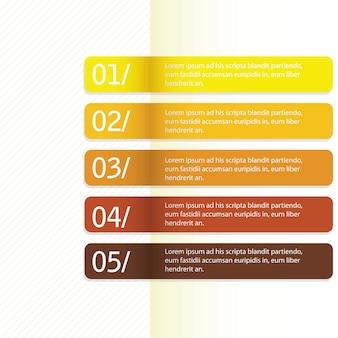 Modello di design moderno di colori retrò per linee numerate banner orizzontale linesvector