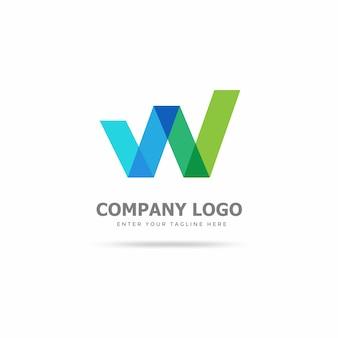 Modello di design moderno logo w