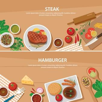 Modello di design piatto banner bistecca e hamburger
