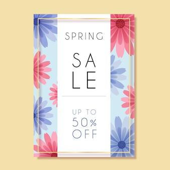 Modello di design piatto di volantino di vendita di primavera con fiori rosa e blu