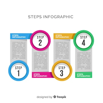 Modello di design piatto passi infografica