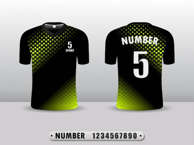 Modello di design sportivo t-shirt calcio club nero e verde