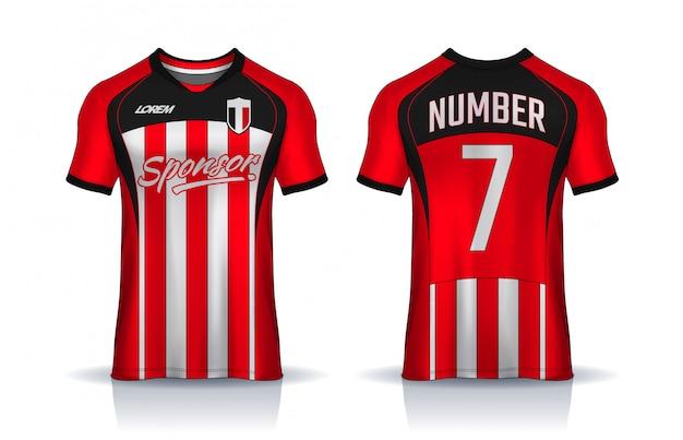Modello di design sportivo t-shirt, maglia da calcio per club di calcio. vista frontale e posteriore uniforme.