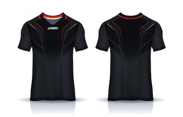 Modello di design sportivo t-shirt, mockup di maglia da calcio per club di calcio. vista frontale e posteriore uniforme.