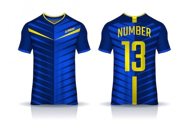Modello di design sportivo t-shirt, vista frontale e posteriore uniforme.