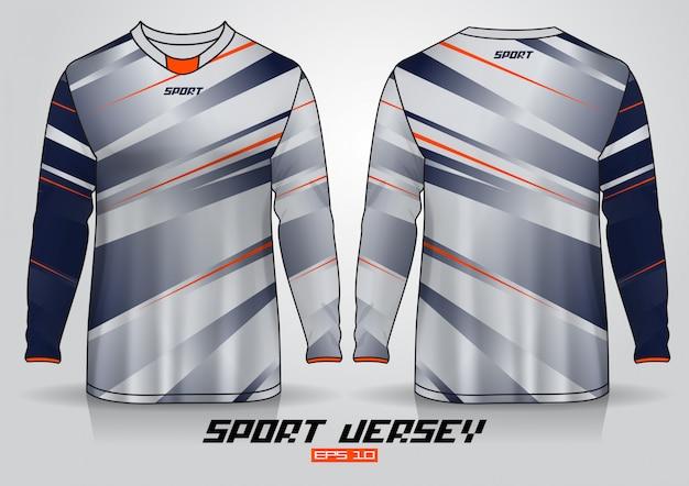 Modello di design t-shirt a maniche lunghe, vista frontale e posteriore uniforme.