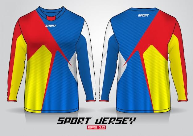 Modello di design t-shirt a maniche lunghe, vista frontale e posteriore uniforme