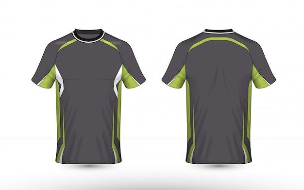 Modello di design t-shirt di e-sport con layout grigio, verde e bianco
