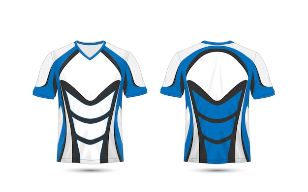 Modello di design t-shirt e-sport layout blu e nero