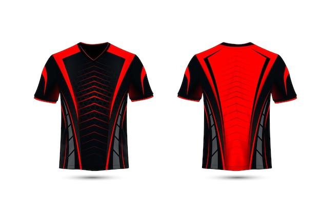 Modello di design t-shirt e-sport layout nero e rosso