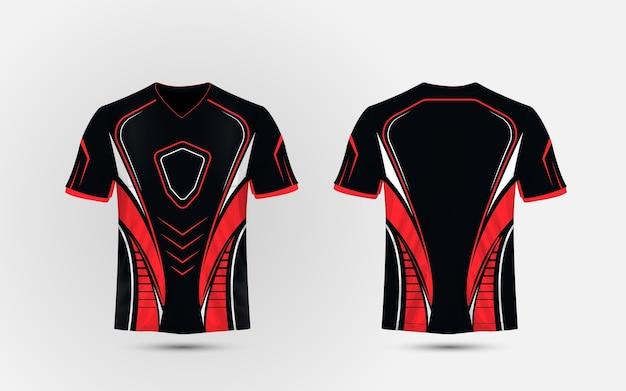Modello di design t-shirt sport layout, nero, rosso e bianco