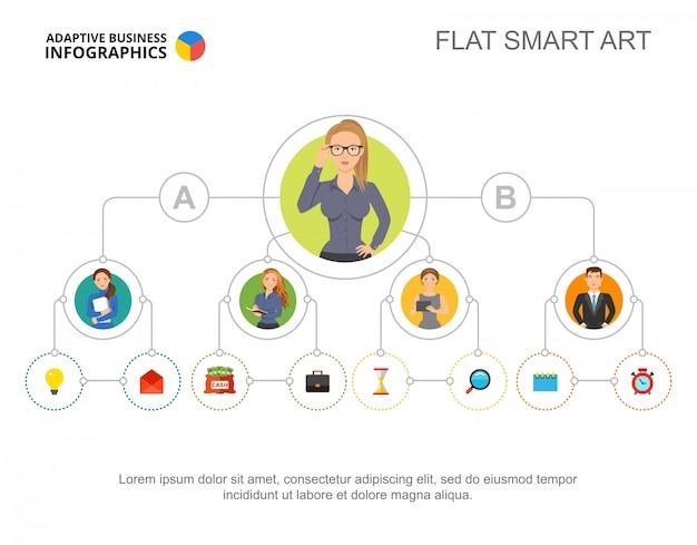 Modello di diagramma di flusso di persone di affari per la presentazione