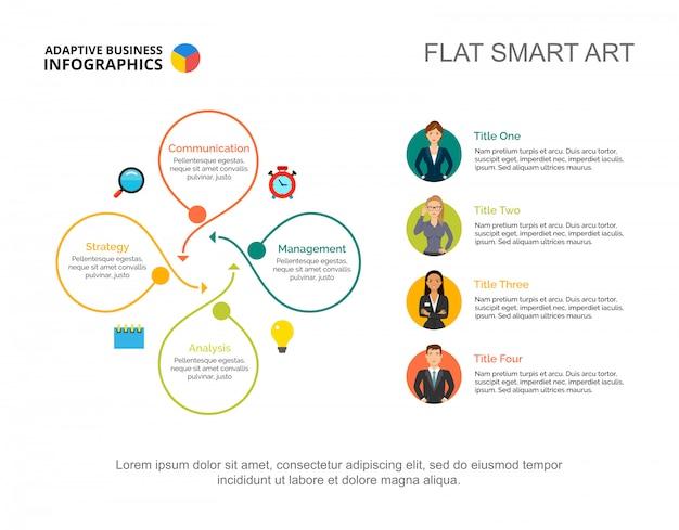 Modello di diagramma di processo del flusso di lavoro di quattro opzioni per la presentazione. visualizzazione dei dati aziendali