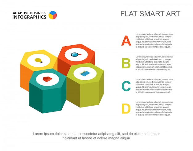 Modello di diagramma di processo di strategia di quattro opzioni per la presentazione. dati aziendali