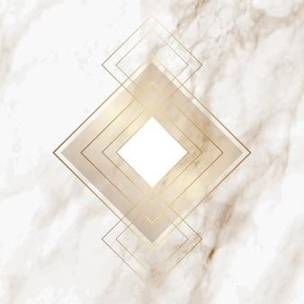 Modello di diamante oro su elegante trama di marmo