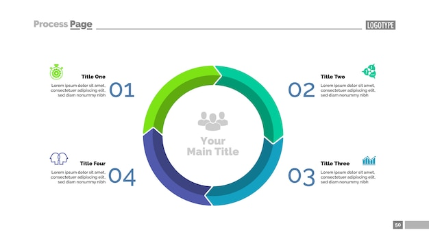 Modello di diapositiva con quattro cerchi in cerchio. dati aziendali grafico, grafico