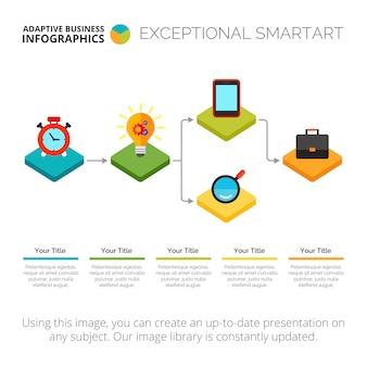 Modello di diapositiva del diagramma di flusso di infographic