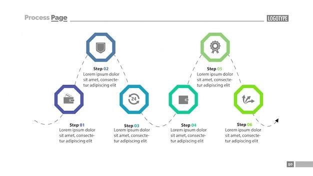 Modello di diapositiva del diagramma di processo a sei fasi