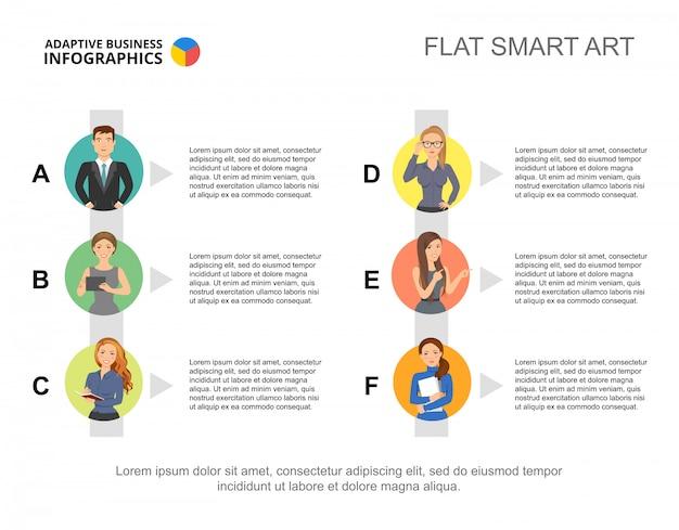 Modello di diapositiva del personale. grafico. concept creativo per infografica, report.
