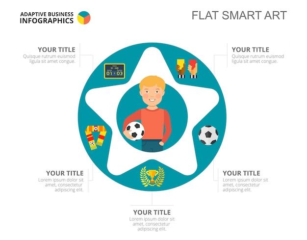 Modello di diapositiva di simboli di calcio
