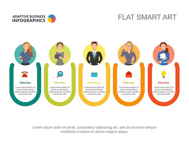 Modello di diapositive dei dipartimenti aziendali. dati aziendali grafico, grafico