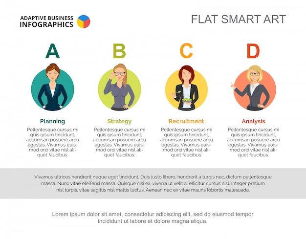 Modello di diapositive dei dipartimenti aziendali. grafico. concept creativo per infografica, report.