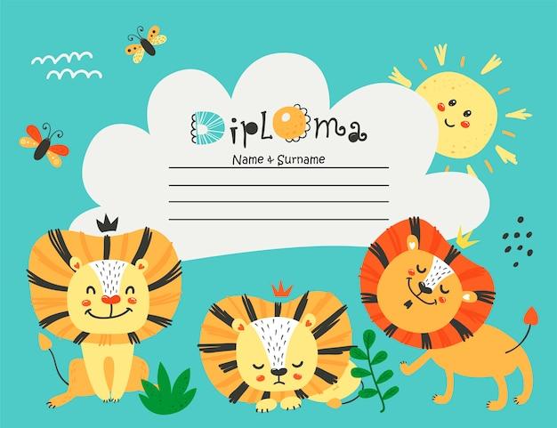 Modello di diploma con leoni per bambini
