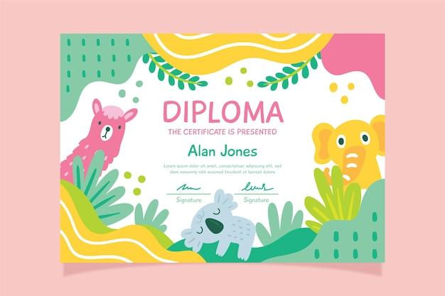Modello di diploma con tema per bambini