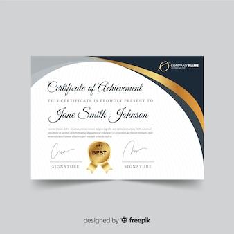Modello di diploma decorativo con elementi dorati
